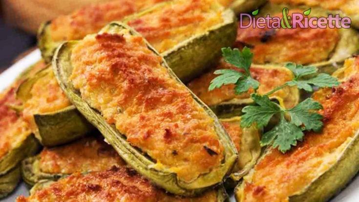 zucchine ripiene di ricotta farcite e gratinate al forno